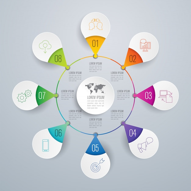 Elementos de infográfico de negócios de 8 etapas para a apresentação