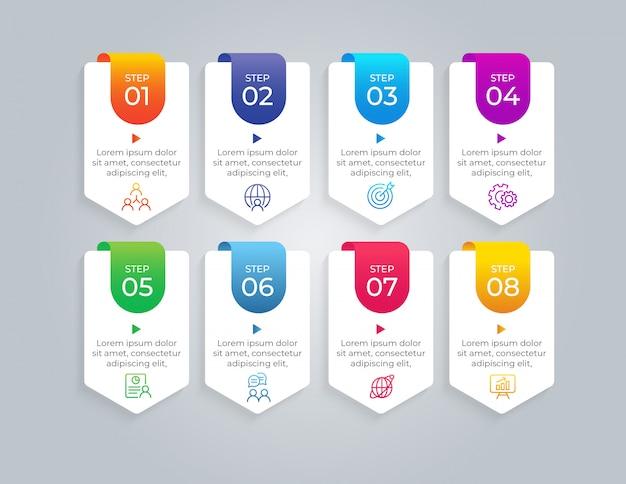 Elementos de infográfico de negócios de 8 etapas