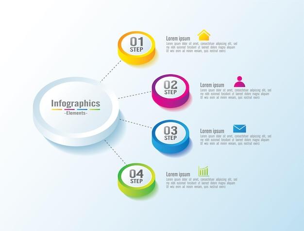 Elementos de infográfico de negócios de apresentação círculo colorido com 4 etapas