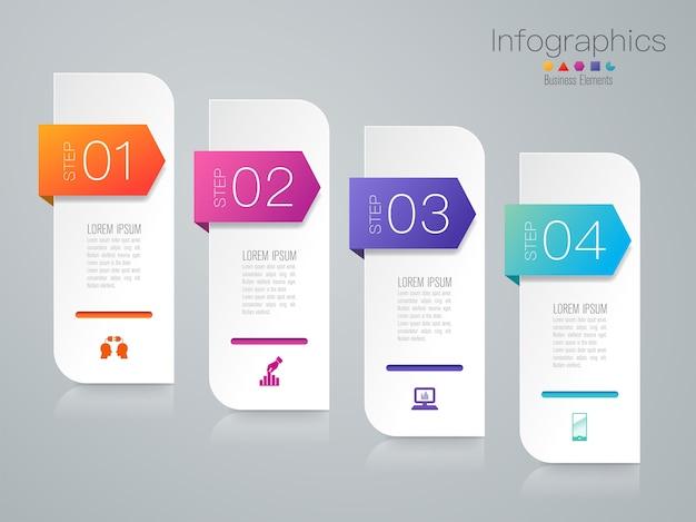 Elementos de infográfico de negócios de etapas para a apresentação