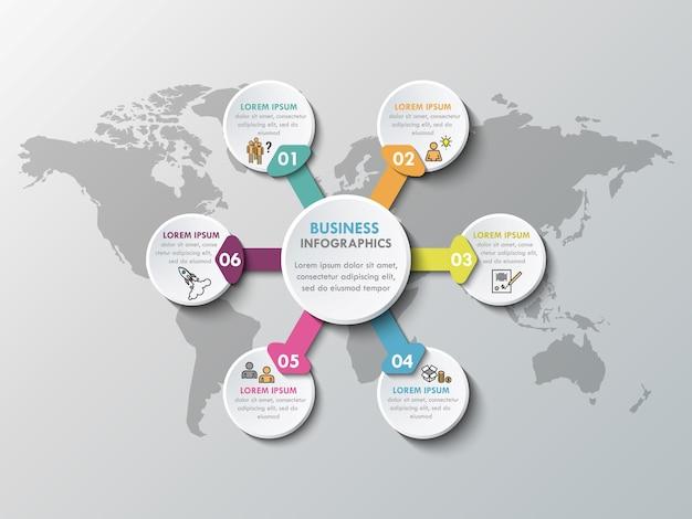 Elementos de infográfico de papel 3d para seis opções. infografia de negócios de metaball