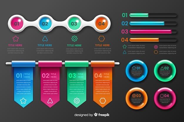 Elementos de infográfico de plástico brilhante realistas