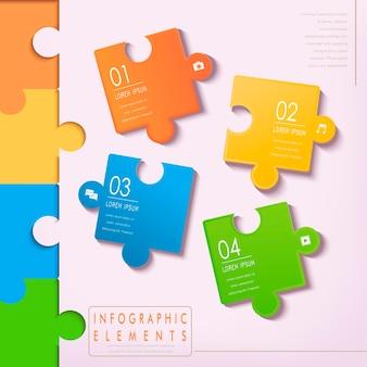 Elementos de infográfico de quebra-cabeça modernos isolados em rosa