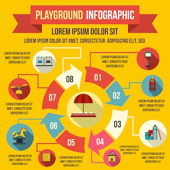 Elementos de infográfico de recreio em estilo simples para qualquer projeto
