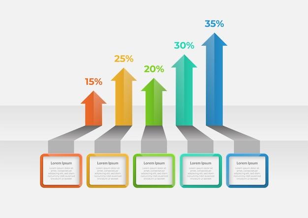Elementos de infográfico de setas com cinco opções