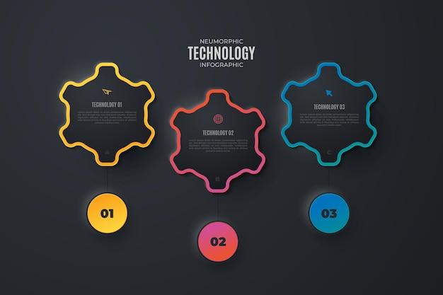 Elementos de infográfico de tecnologia colorida