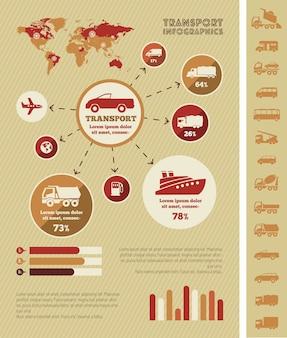 Elementos de infográfico de transporte.