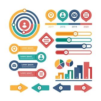Elementos de infográfico design plano