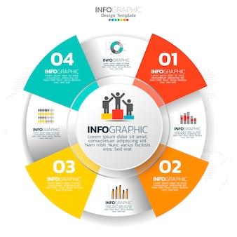 Elementos de infográfico do círculo de negócios com 4 opções ou etapas.