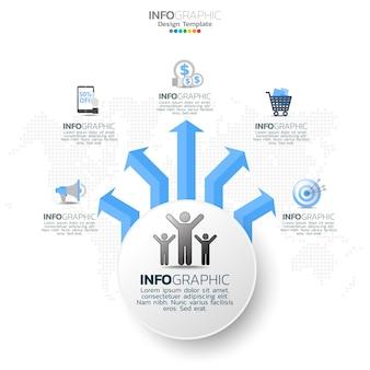 Elementos de infográfico do círculo de negócios com 5 opções ou etapas.