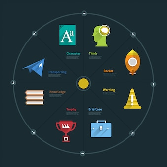 Elementos de infográfico e ícone de negócios conectam estilo de vida para layout ou gráfico