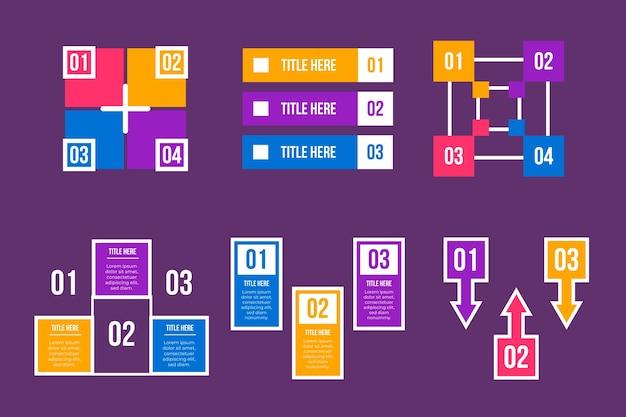 Elementos de infográfico em design plano