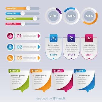 Elementos de infográfico gradiente collectio