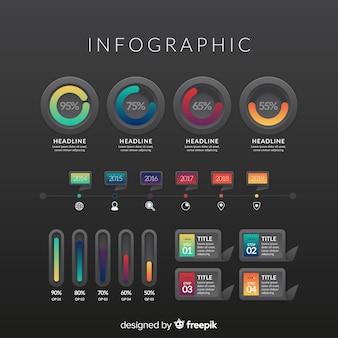 Elementos de infográfico gradiente com fundo escuro