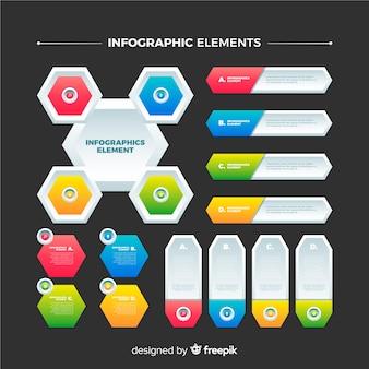 Elementos de infográfico gradiente