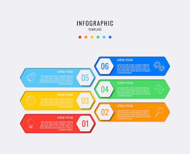 Elementos de infográfico hexagonal com seis etapas, opções, partes ou processos com caixas de texto e ícones de linha de marketing. visualização de dados vetoriais para fluxo de trabalho, diagrama, relatório anual, web. eps10
