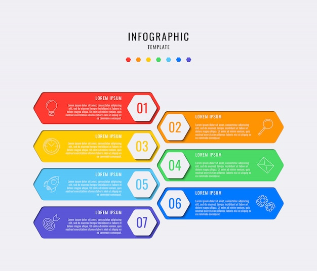 Elementos de infográfico hexagonal com sete etapas, opções, partes ou processos com caixas de texto. visualização de dados vetoriais para fluxo de trabalho, diagrama