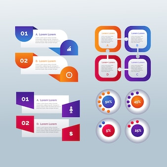 Elementos de infográfico modelo gradiente