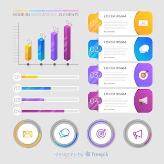 Elementos de infográfico moderno colorido