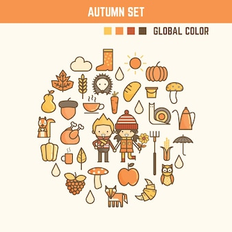 Elementos de infográfico outono e outono