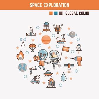 Elementos de infográfico para crianças sobre exploração espacial