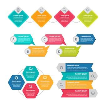 Elementos de infográfico planos e coloridos