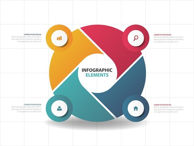 Elementos de infográficos coloridos abstratos negócios,