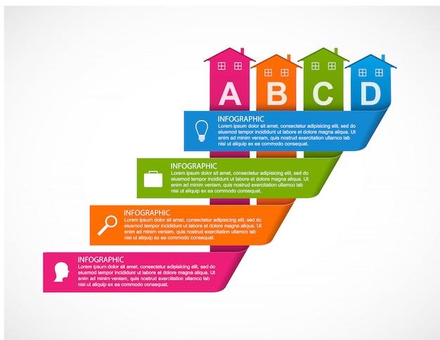 Elementos de infográficos com casas coloridas