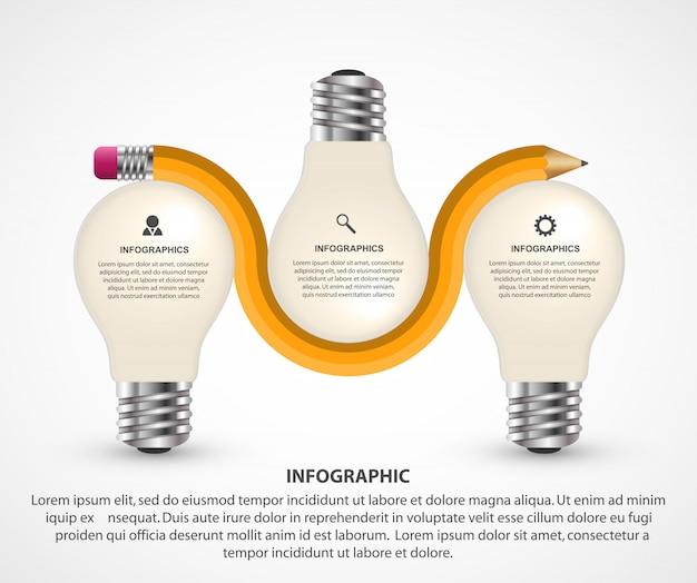 Elementos de infográficos com lápis e lâmpada