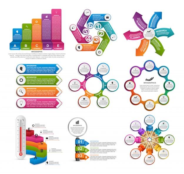 Elementos de infográficos de coleção