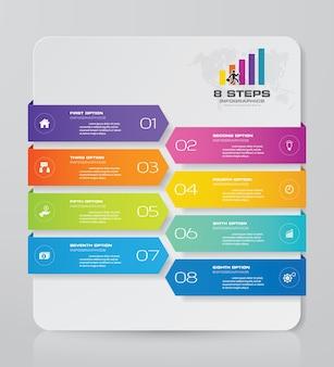 Elementos de infográficos de gráfico de 8 passos para apresentação de dados.