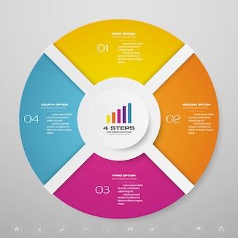 Elementos de infográficos de gráfico de ciclo de 4 etapas para apresentação de dados.