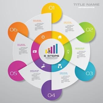 Elementos de infográficos de gráfico de ciclo de 6 etapas.