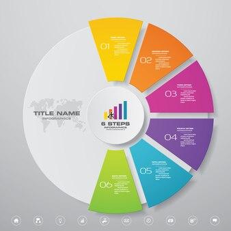 Elementos de infográficos de gráfico de ciclo de 6 etapas