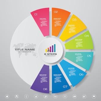 Elementos de infográficos de gráfico de ciclo de 8 passos.
