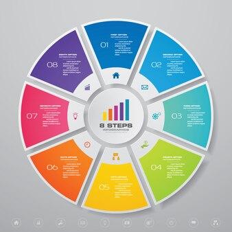 Elementos de infográficos de gráfico de ciclo para apresentação de dados.