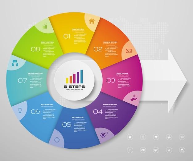 Elementos de infográficos de gráfico de ciclo para apresentação de dados