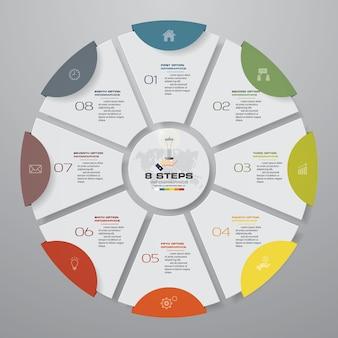 Elementos de infográficos de gráfico de pizza moderna de 8 passos.