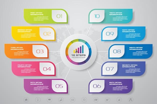 Elementos de infográficos de gráfico moderno de 10 passos.