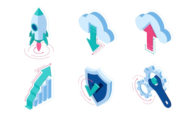 Elementos de infográficos de ícones isométricos para web site