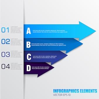 Elementos de infográficos de negócios com campos de texto de setas numeradas em cores azuis