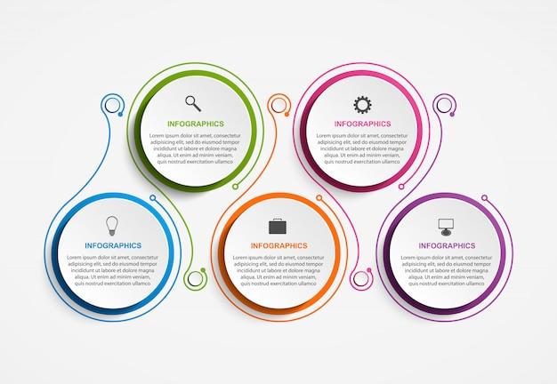 Elementos de infográficos de opções abstratas