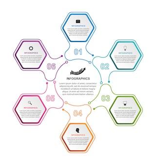 Elementos de infográficos de opções do hexágono