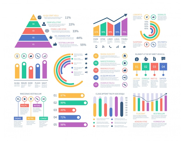 Elementos de infográficos do analytics. gráfico de dados, diagrama de gráfico de marketing. histograma plano de orçamento. elementos de infográficos estatísticos