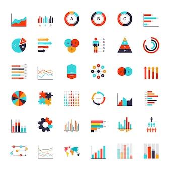 Elementos de infográficos isolados no branco