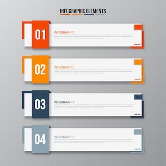 Elementos de infográficos retangulares coloridos, conceito de modelo de negócios com 4 etapas sucessivas.