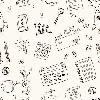 Elementos de inicialização padrão sem emenda de doodle desenhado à mão