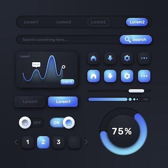 Elementos de interface do usuário e ux de design plano
