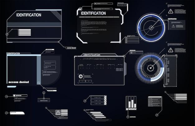 Elementos de interface hud, ui, gui. conjunto de títulos de destaque.