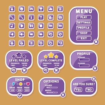Elementos de interface para botões de design de jogos e aplicativos, janelas de menu e configurações (gui, ui).